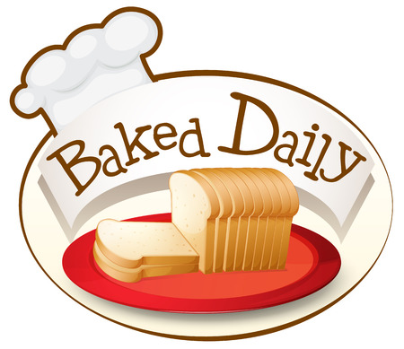 melaware: Illustration of a plate of bread with a baked daily label on a white background Illustration
