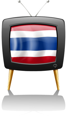 Illustration of the flag of Thailand inside the television on a white background Vector