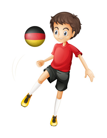 footwork: Illustration of a boy using the soccer ball with the flag of Germany on a white background