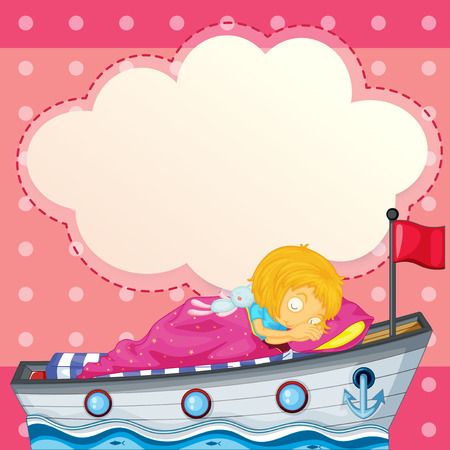 Illustration of a young girl sleeping at the ship with an empty callout Vector