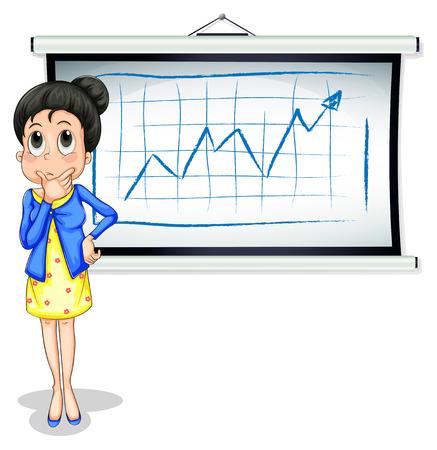Ilustración de una mujer de negocios que piensa delante de la pizarra sobre un fondo blanco