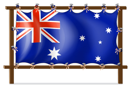 nailed: Illustration of the flag of Australia attached to the wooden frame on a white background