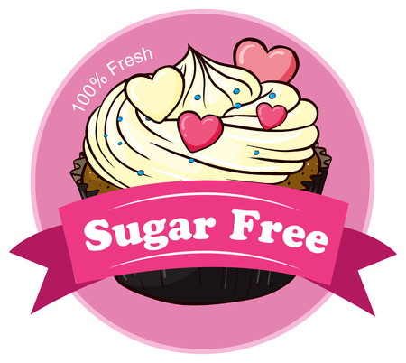 Illustration of a mocha cake with a sugar free label on a white background Vector