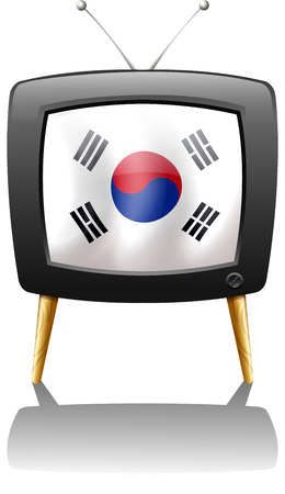 Illustration of a TV with the flag of Korea on a white background Vector