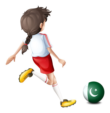 kicking ball: Illustration of a girl kicking the ball with the flag of Pakistan on a white background