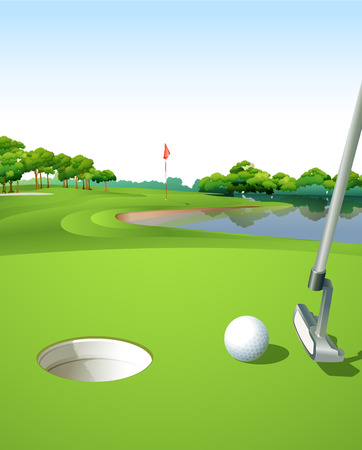 golf field: Illustration of a clean and green golf course Illustration