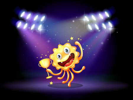 Illustration of a stage with a monster holding a trophy Vector