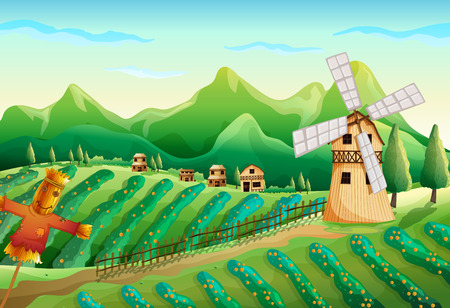 field and sky: Illustration of a farm with wooden houses and a scarecrow