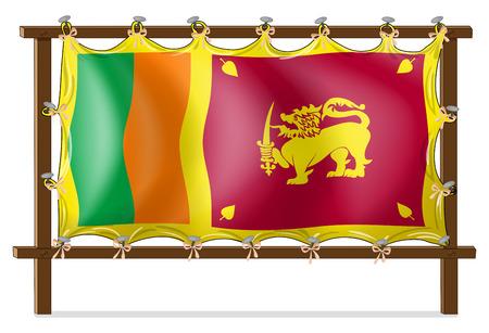 srilanka: Illustration of a wooden frame with the flag of SriLanka on a white background Illustration