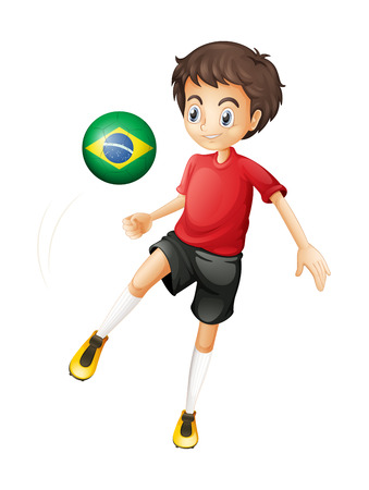 kicking ball: Illustration of a boy using the ball with the flag of Brazil on a white background
