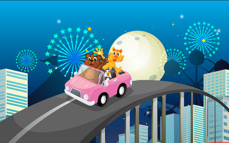 Illustration of a pink car with a bear, a tiger and a penguin Vector