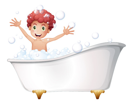 bubble bath: Illustration of a bathtub with a young boy playing on a white background