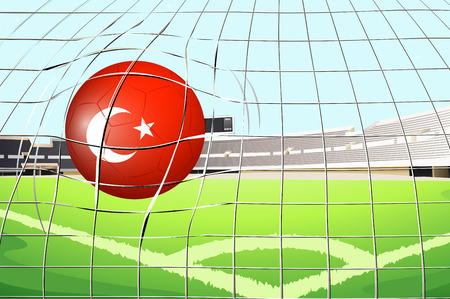 Illustration of a soccer ball with the flag of Turkey Vector