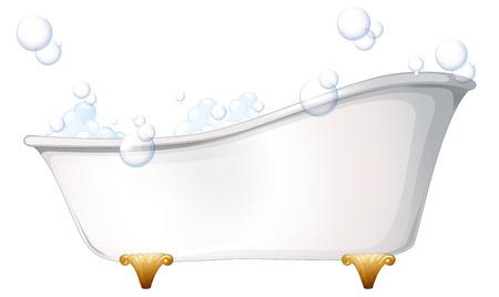 personas banandose: Ilustración de una bañera en un fondo blanco
