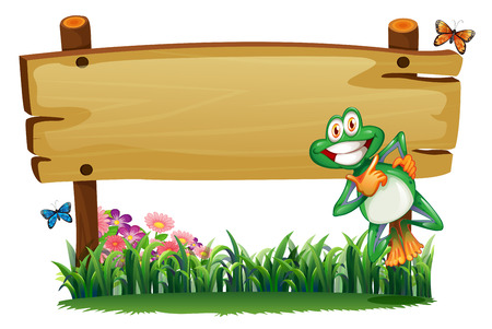 Illustration of an empty wooden signboard with a playful frog on a white background Vector