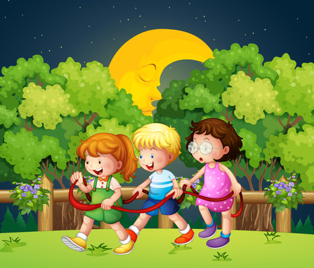 stroll: Illustration of the three kids outdoor walking in the middle of the night Illustration