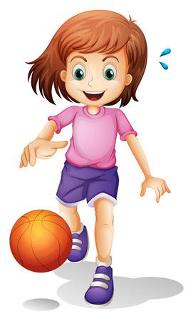 baloncesto chica: Ilustración de una niña jugando al baloncesto en un fondo blanco