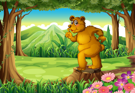 Illustration of a stump with a big bear Vector