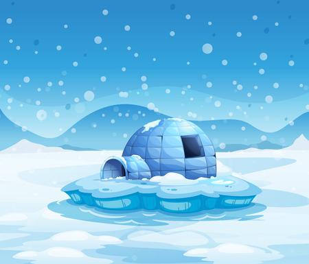 Illustratie van een ijsberg met een iglo