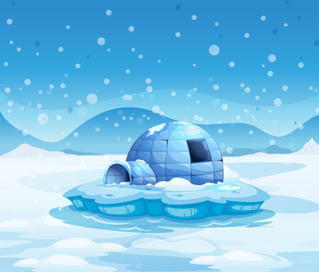 Illustration of an iceberg with an igloo
