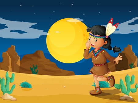 noontime: Illustration of a desert with a young Indian