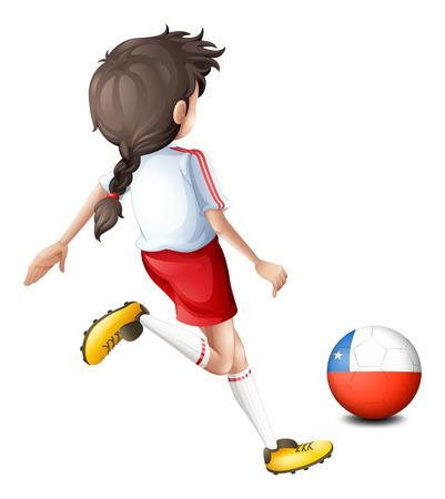 예행 연습: 흰색 배경에 칠레의 플래그와 함께 공을 발로 여자 선수의 그림 일러스트