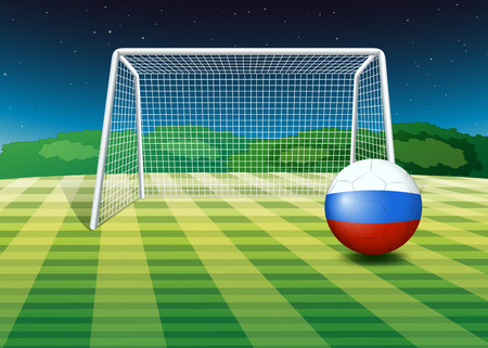 Illustration of a soccer ball near the net with the flag of Netherlands