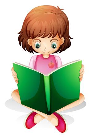 libro de cuentos: Ilustraci�n de una chica joven que lee un libro verde sobre un fondo blanco Vectores