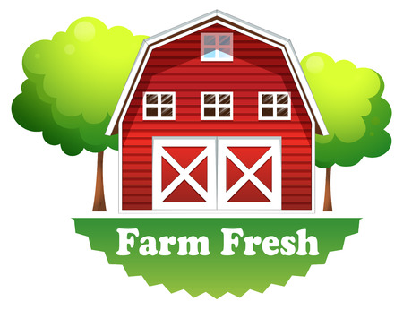 barnhouse: Illustration of a barnhouse with a farm fresh label on a white background Illustration