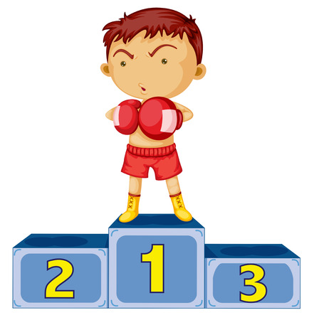 number two: Illustration of a boxing champion on a white background