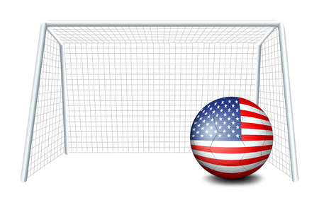 Illustration of a soccer ball near the net with the flag of the United States on a white background Vector