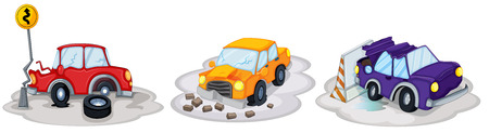 purple car: Illustration of the car accidents on a white background