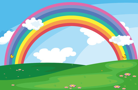 Illustration of a green landscape with a rainbow in the sky Illustration