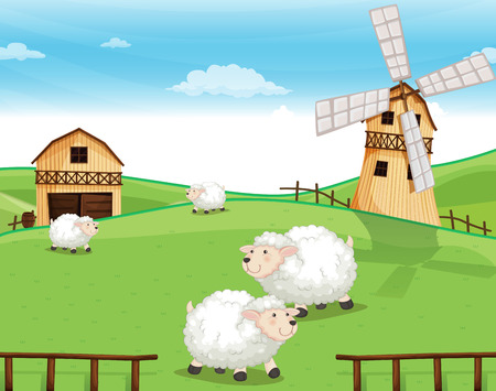 Illustration of a farm at the hills with sheeps