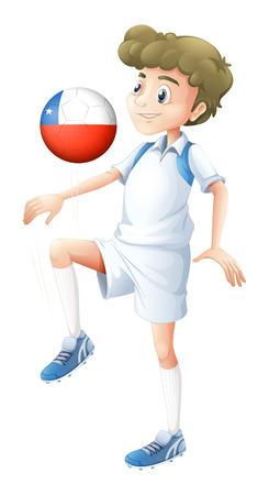 bandera de chile: Ilustraci�n de un ni�o con la bola con la bandera de Chile sobre un fondo blanco Vectores