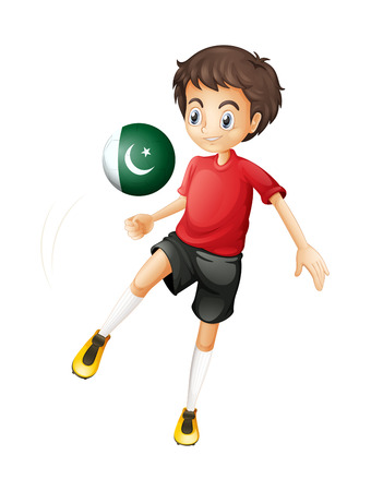 pakistan flag: Illustration of a boy using the ball with the Pakistan flag on a white background