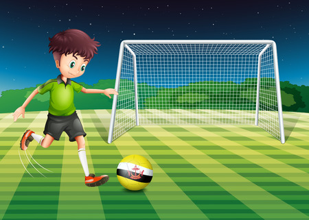 footwork: Illustration of a football player kicking the ball with the flag of Brunei Illustration