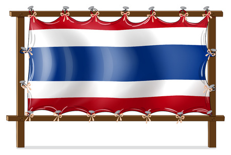 tricoloured: Illustration of the flag of Thailand attached to the wooden frame on a white background