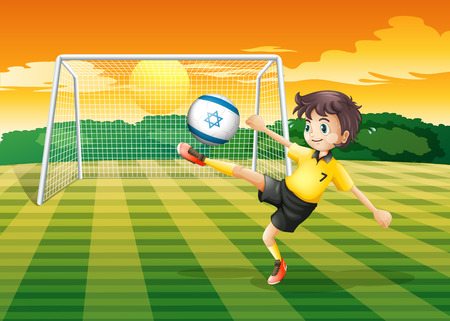 footwork: Illustration of a girl kicking the ball with the Israel flag