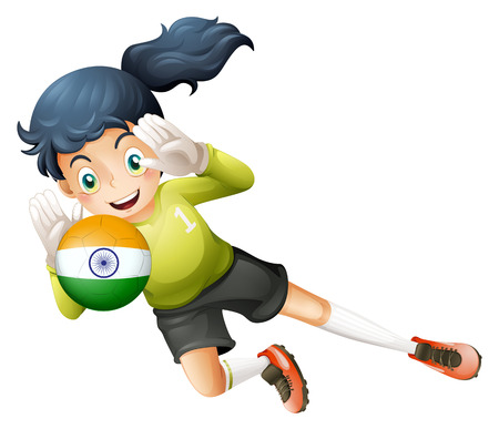 footwork: Illustration of a female player using the ball with the flag of India on a white background