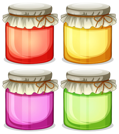 tightly: Illustration of the four colorful jars that are  tightly covered on a white background