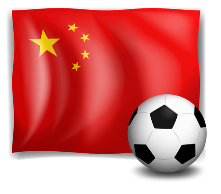 Illustration of a soccer ball in front of the China flag on a white background Illustration