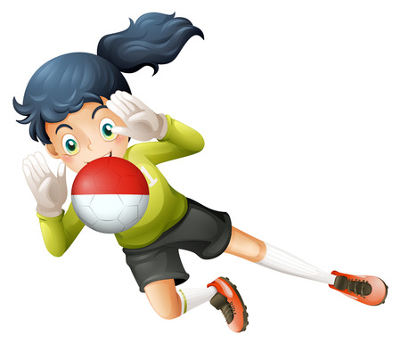 footwork: Illustration of a girl using the ball with the Chile Flag on a white background