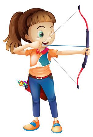 Illustration einer jungen Frau, die Bogenschießen auf einem weißen Hintergrund