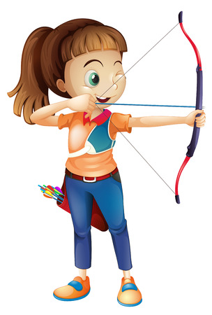 Illustration of a young woman playing archery on a white background