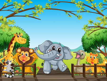 Illustration of a group of wild animals at the bridge in the forest Vector