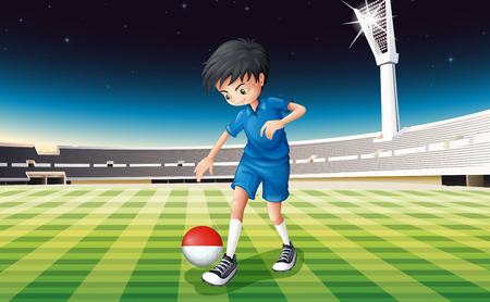 Illustration of a football player at the field using the ball with the Indonesian flag