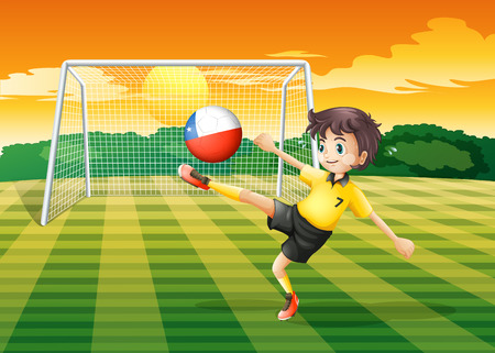 kicking ball: Illustration of a girl kicking the ball with the Chile flag
