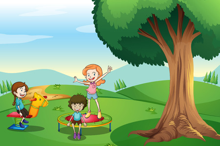 Illustration of the kids playing above the hills Vector