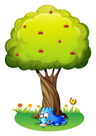 Illustration of a monster writing under the tree on a white background Vector